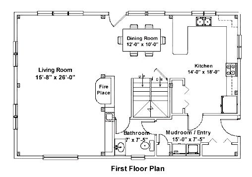 First Floor Plan 26x40 Post Beam Home Post And Beam Cottage Plan Cottage Design