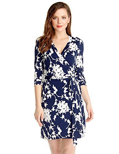 Lookbookstore Women S Casual True Wrap Floral Knee Length