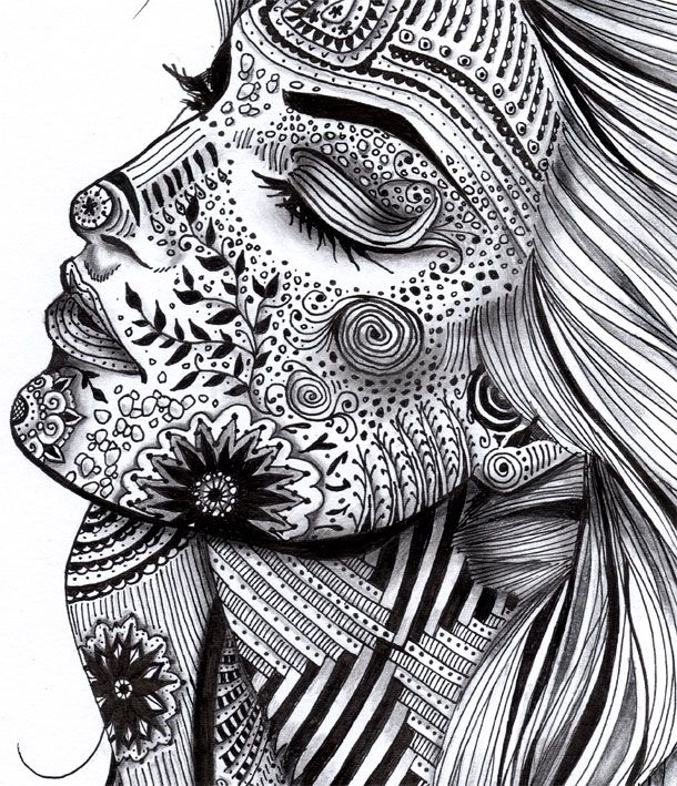 creative zentangle designs illustratedWomanBW2