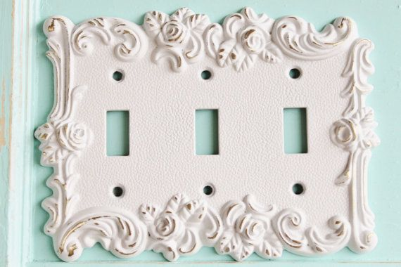 Victorian Antique Vintage Style Rose 3 Toggle Switch Plate Covers With Roses Malibu Homes By Alacartcreations