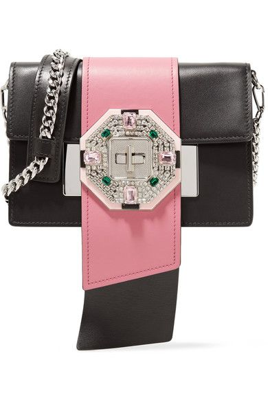 ca3914eb3dec Prada Ribbon crystal-embellished leather shoulder bag $2,840 | Black and  pink leather (Calf) Twist lock-fastening front flap Weighs approximately  1.8lbs/ ...