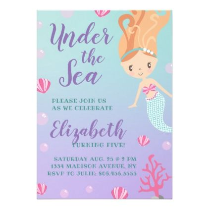 Under The Sea Mermaid Birthday Card Invitations Custom Unique Diy Personalize Occasions