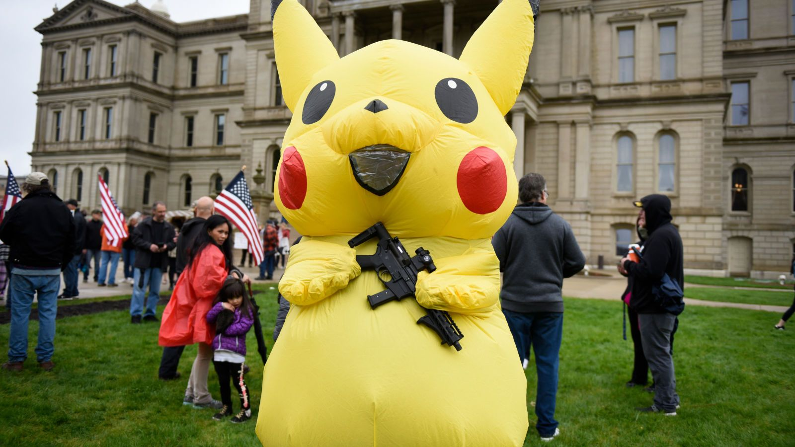 It S 2020 So Of Course An Armed Pokemon Was At A Lockdown Protest Pokemon Only In America Tama