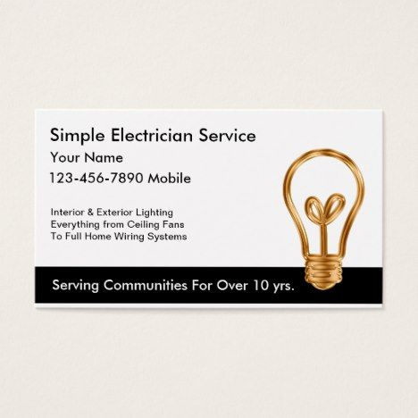 Simple electrician business cards business cards and business simple electrician business cards colourmoves