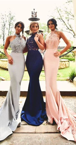 Only $139--Halter Lace Mermaid Long Bridesmaid Dress On Sale From ...