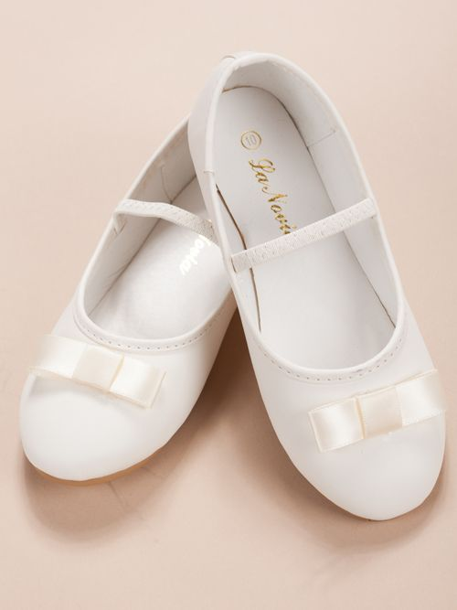 Flower girl shoes with accented bow off white wedding flower girl shoes with accented bow off white mightylinksfo
