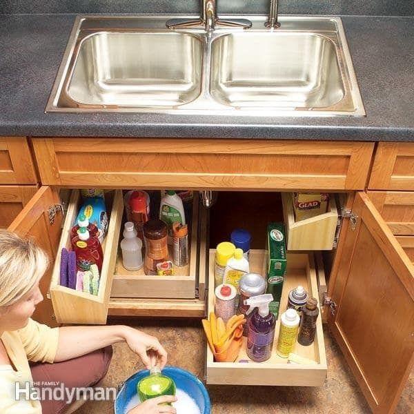 Put Shelves Inside Of Your Shelves Kitchen Sink Storage Home Organization Hacks Kitchen Organization