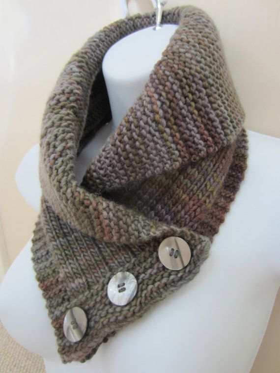 3 Button Cowl or Neckwarmer with a Rolled Shawl Collar, Made with ...