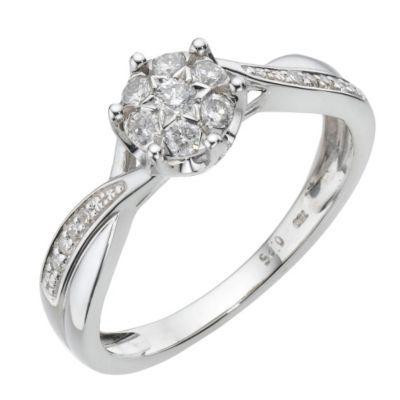 18ct White Gold Quarter Carat Diamond Cluster Ring Ernest Jones Diamond Cluster Engagement Ring Buying An Engagement Ring Diamond Cluster Ring