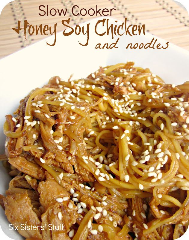 Slow Cooker Honey Soy Chicken and Noodles from sixsistersstuff.com.