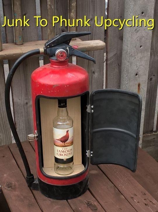 Upcycled fire extinguisher emergency mini bar drinks cabinet man