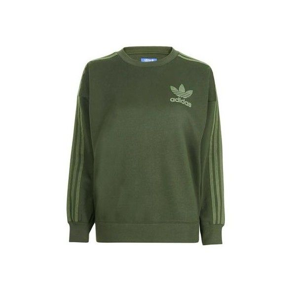 3 Stripe Crew Sweatshirt by Adidas Originals (€65) ❤ liked on Polyvore featuring tops, hoodies, sweatshirts, sweaters, khaki, cotton sweatshirts, striped top, cotton crew neck sweatshirt, green striped top and crew-neck sweatshirts