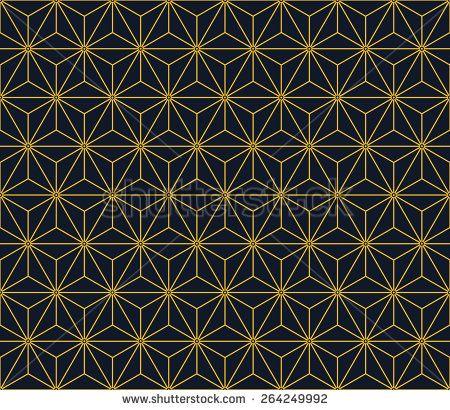 Seamless neon orange vintage japanese asanoha isometric pattern