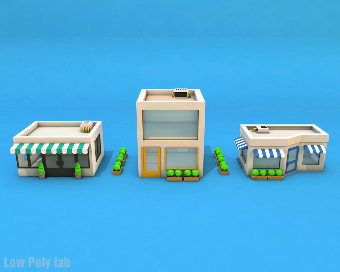 Low Poly City Buildings Package Download 3d Model In 2020 Low