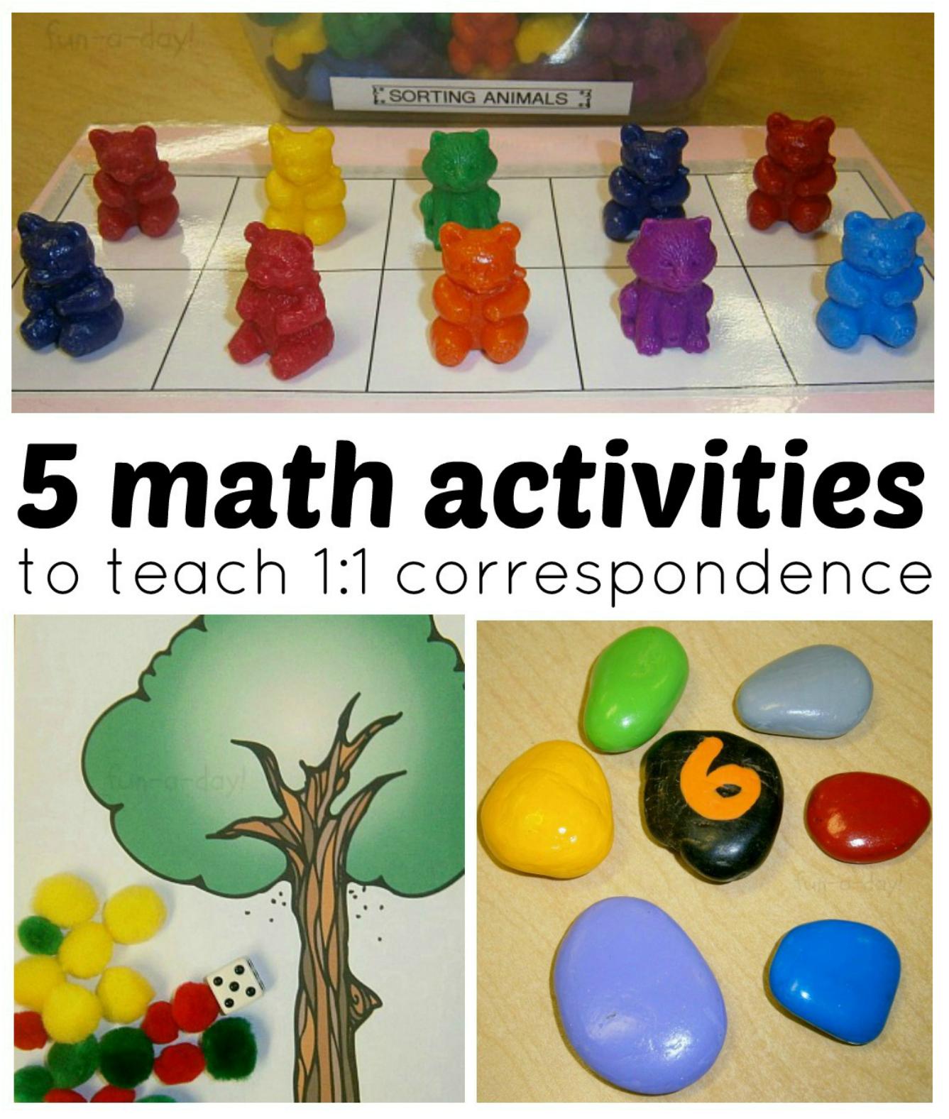 Math Activities For Preschoolers 1 To 1 Correspondence