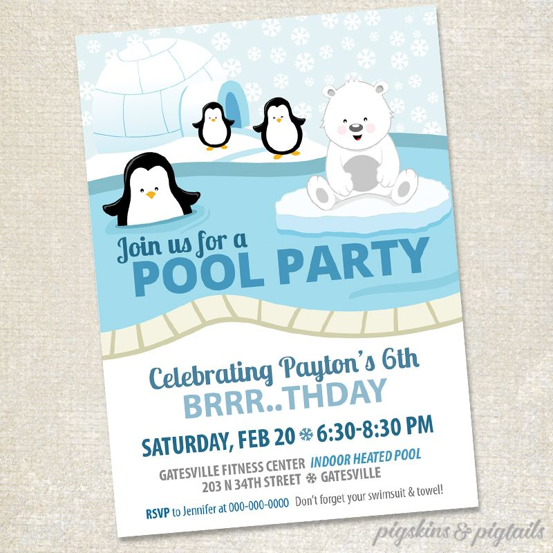 Polar Bears \ Penguins Winter Pool Party Pool party invitations - birthday invitation swimming party