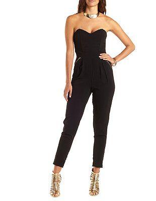 4ee2104b6d0 Zipper-Embellished Strapless Jumpsuit  Charlotte Russe