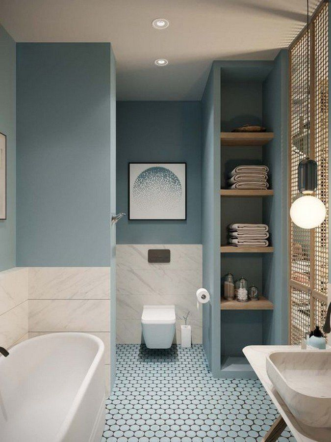 Bano En Azul Con Suelo Ceramico Y Azulejo En Gris Perla Color