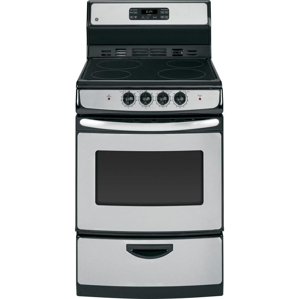 Ge 24 In 3 0 Cu Ft Electric Range With Self Cleaning Oven In Stainless Steel Ja624rnss The Freestanding Electric Ranges Self Cleaning Ovens Oven Cleaning