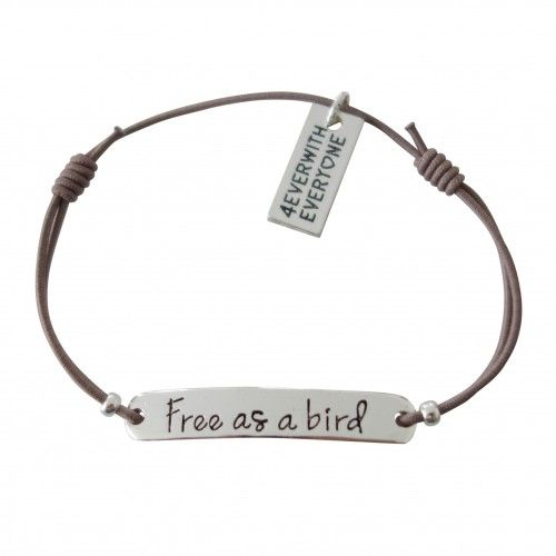 "Armbandje ""Free as a bird"" -  Grijs & Zilver"