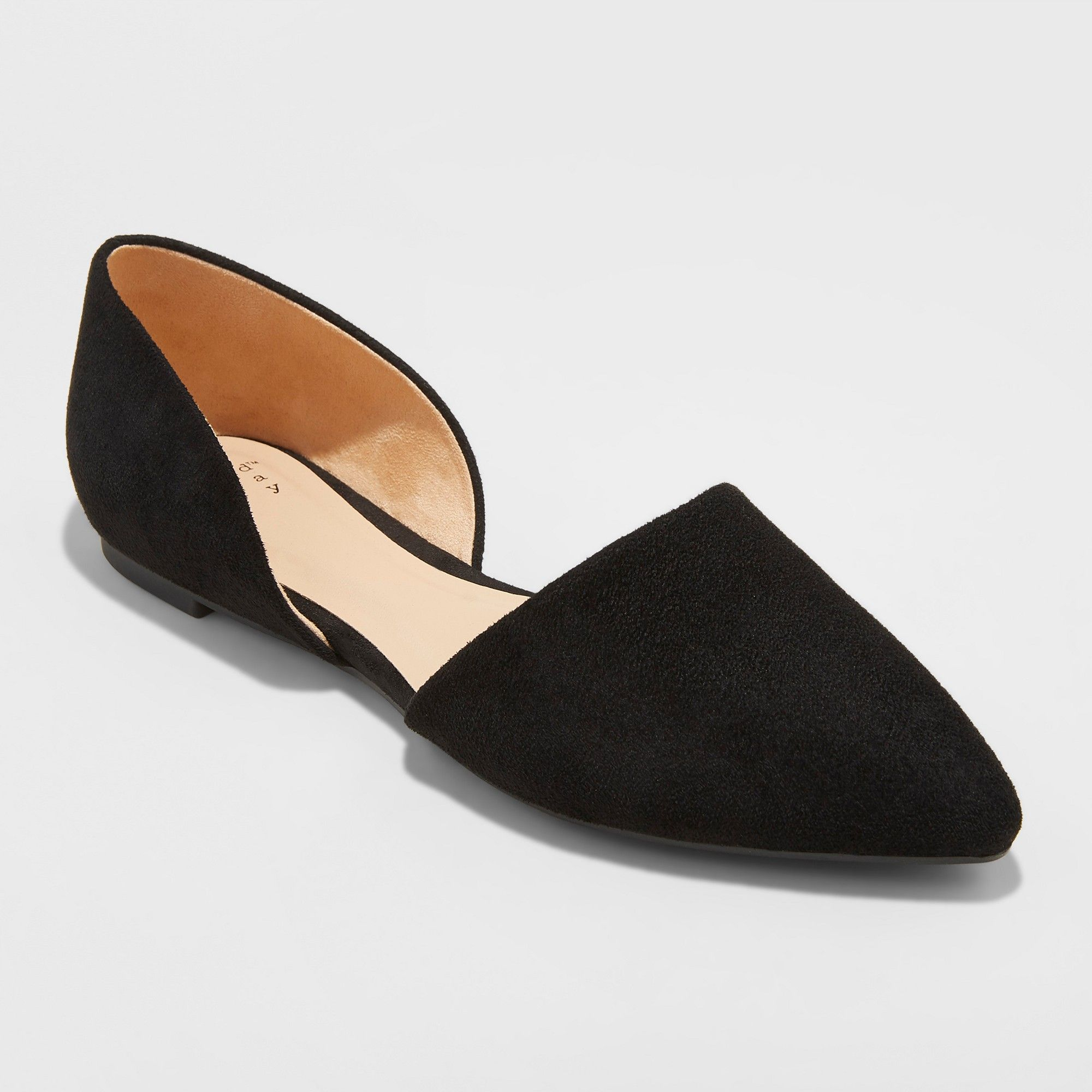 f63a2f9bffc Women s Rebecca Microsuede Wide Width Pointed Two Piece Ballet Flats - A New  Day Black 7.5W