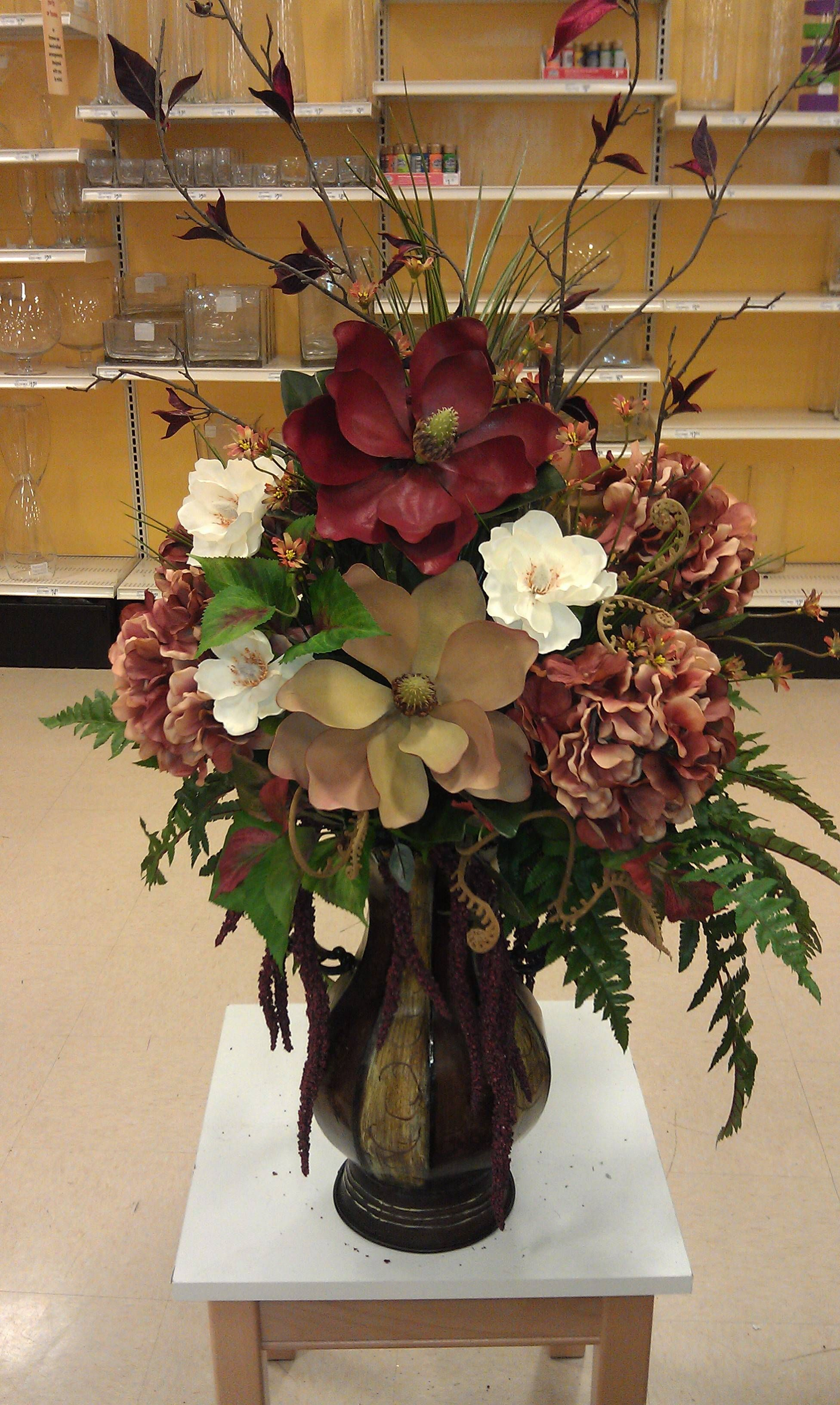 Customer Piece Magnolias And Rust Artificial Floral Arrangements Artificial Flower Arrangements Large Flower Arrangements