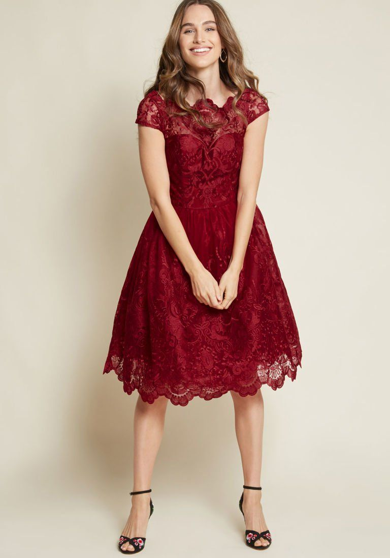 513d4a49f7 Chi Chi London Exquisite Elegance Lace Dress in Burgundy in 22 - Cap Fit &  Flare Midi by Chi Chi London from ModCloth
