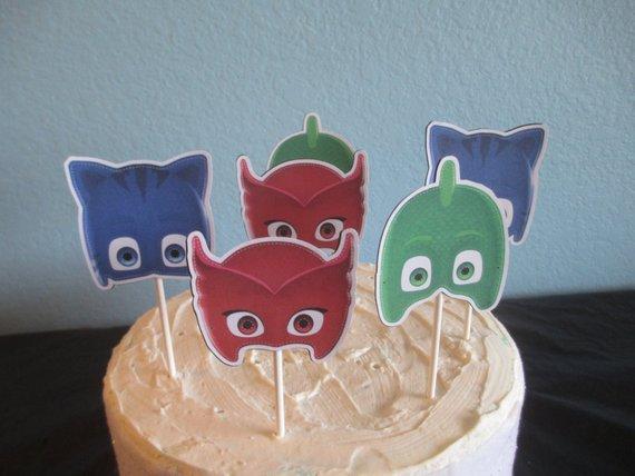 PJ Masks Cupcake Topper12pj Cake Topperpj Birthdaypj Partypj Decoration