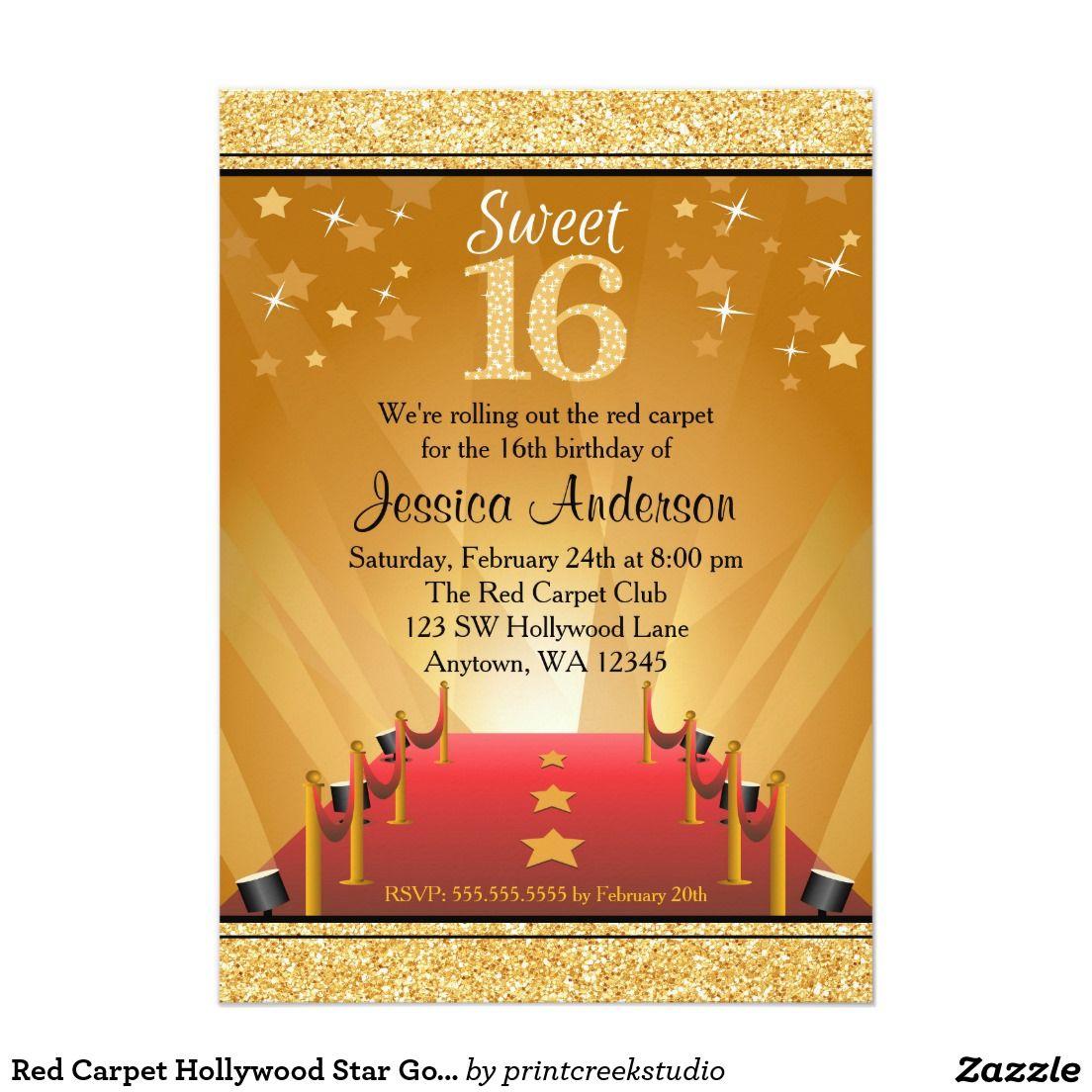 Red Carpet Hollywood Star Gold Glitter Sweet 16 Birthday Invitations ...