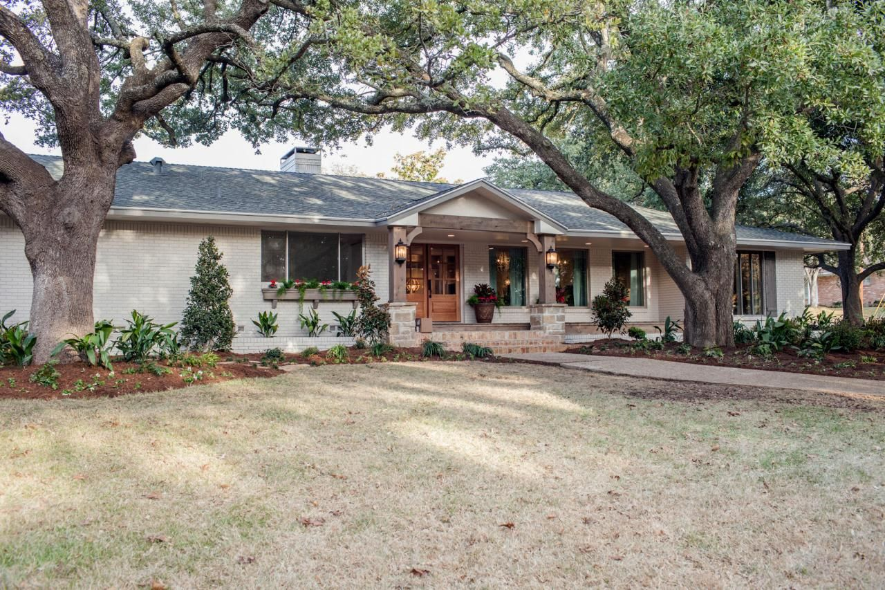 Fixer upper midcentury asian ranch goes french country for Hgtv exterior design