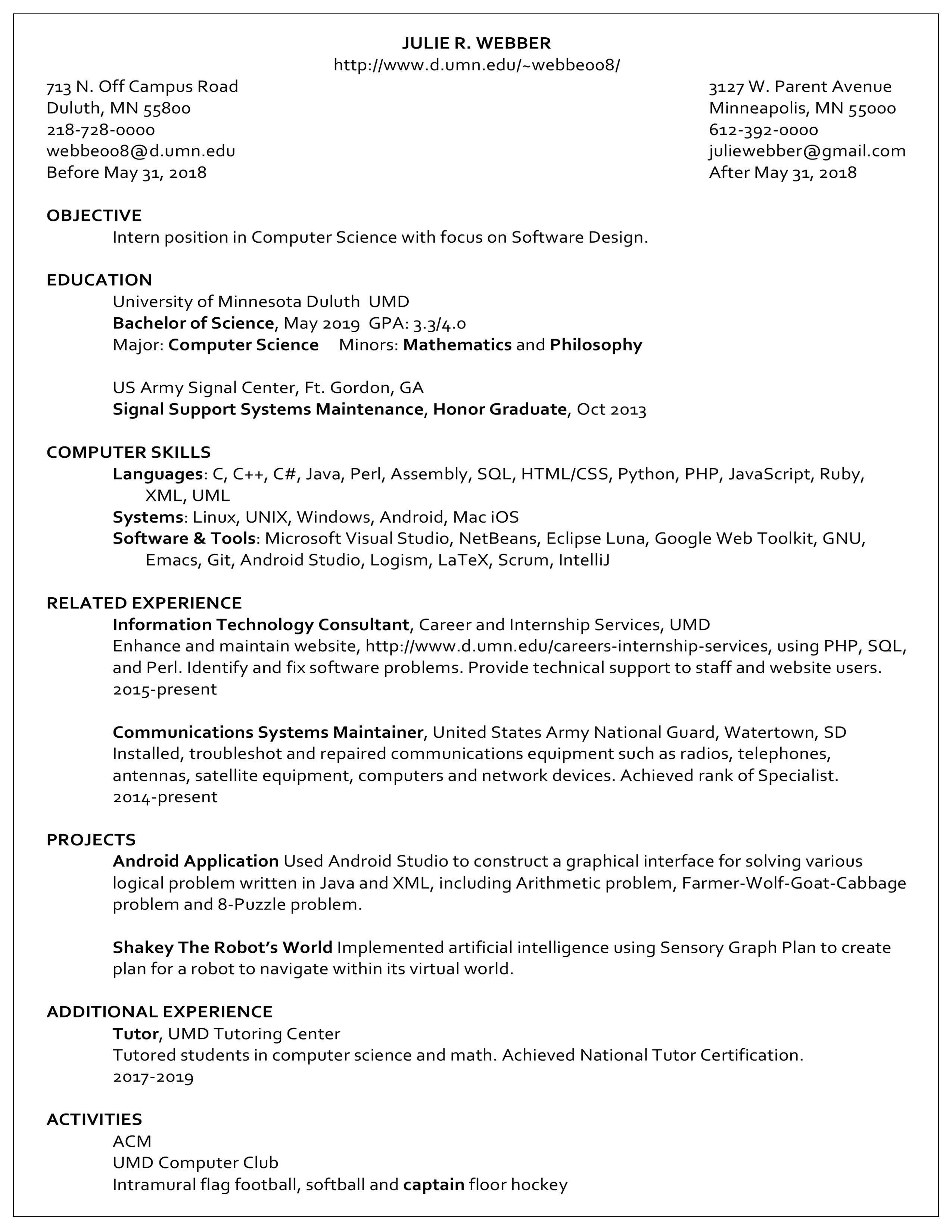 Resume examples career internship services umn