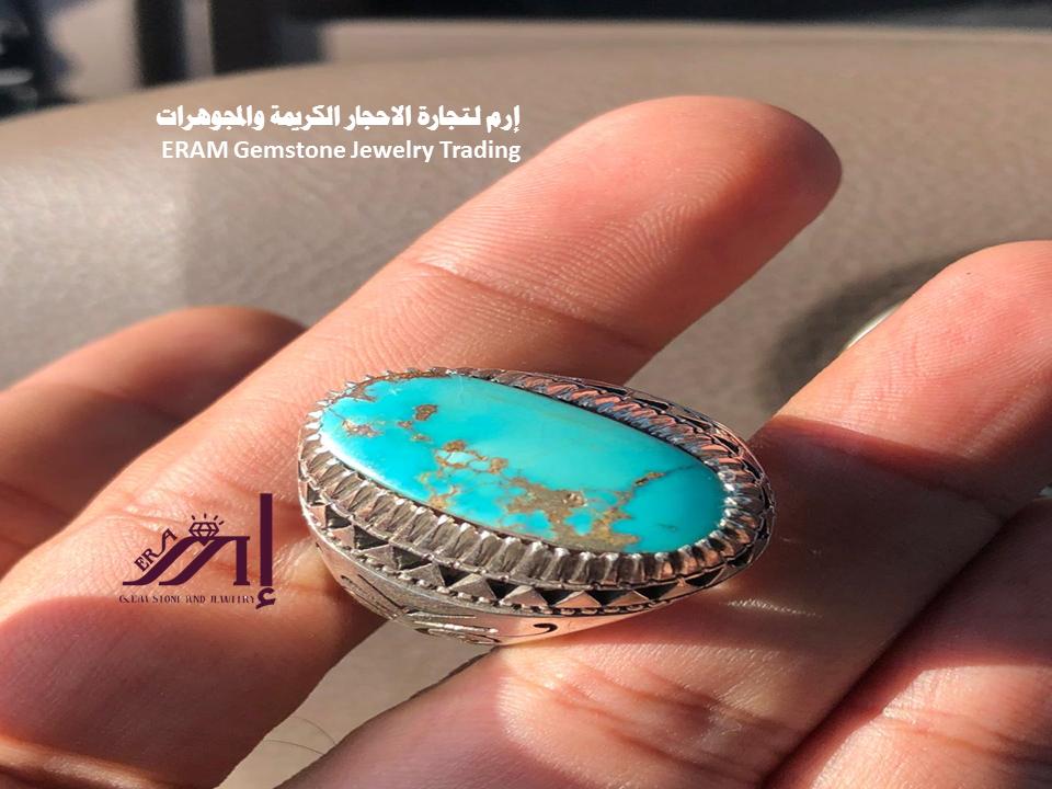 تألقي طيلة اليوم كوني مميزة خاتم نسائي عصري فيروز نيشابوري طبيعي 100 Turquoise للعرض Gemstones Turquoise Ring Gemstone Jewelry