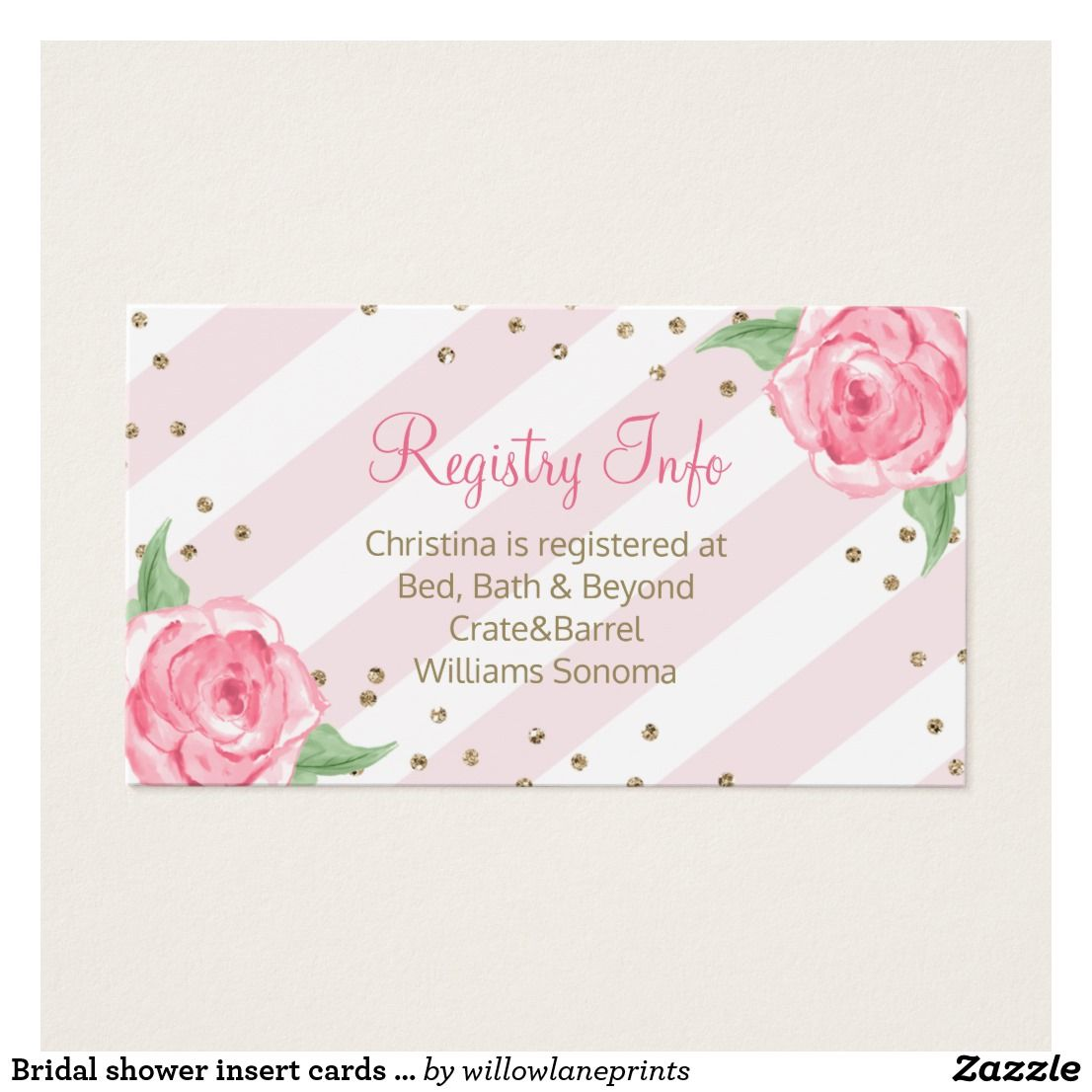 Bridal shower insert cards registry, directions | Bridal showers