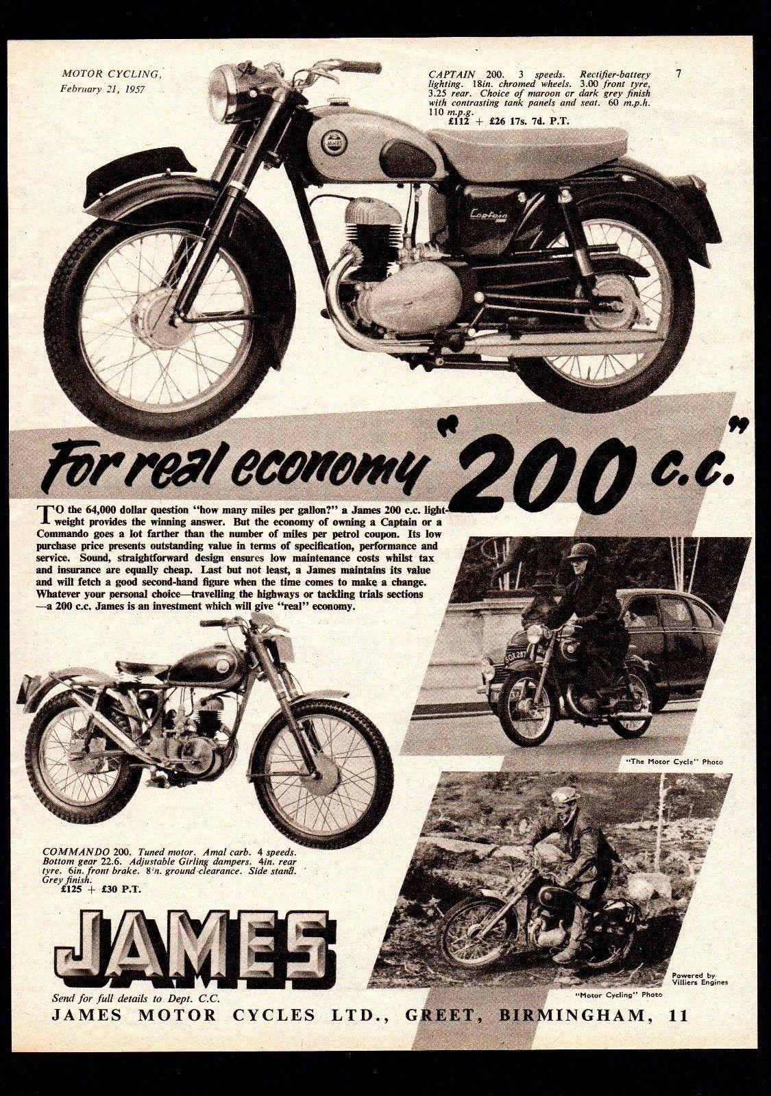 FEBRUARY 1957 JAMES CAPTAIN 200 MOTORCYCLE COMMANDO TRIALS MAGAZINE ADVERT.