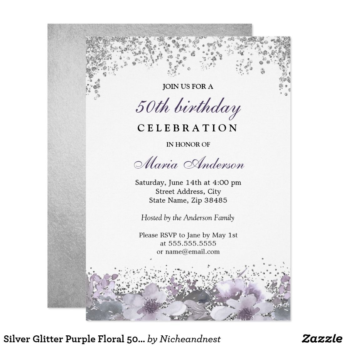 Silver Glitter Purple Floral 50th Birthday Invite See Matching Collection In Niche And Nest Store Fun