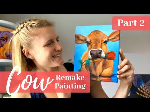 painting a cow and rose for beginners in acrylic paint