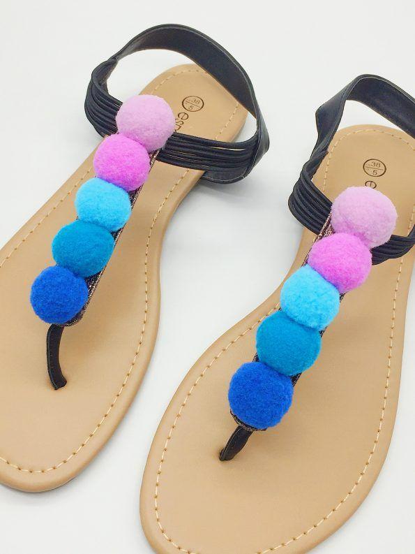 schuhe mit faeden selber dekorieren, upcycling ideen für kleidung - schuhe mit flamingo patches und, Design ideen