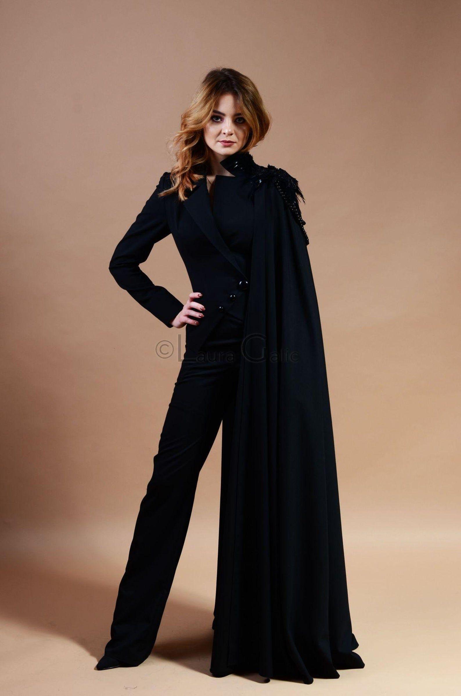 Cape Suit With Feathers Lace And Beads Black Suit For Women Etsy Woman Suit Fashion Black Suit Wedding Tuxedo Women [ 2397 x 1588 Pixel ]
