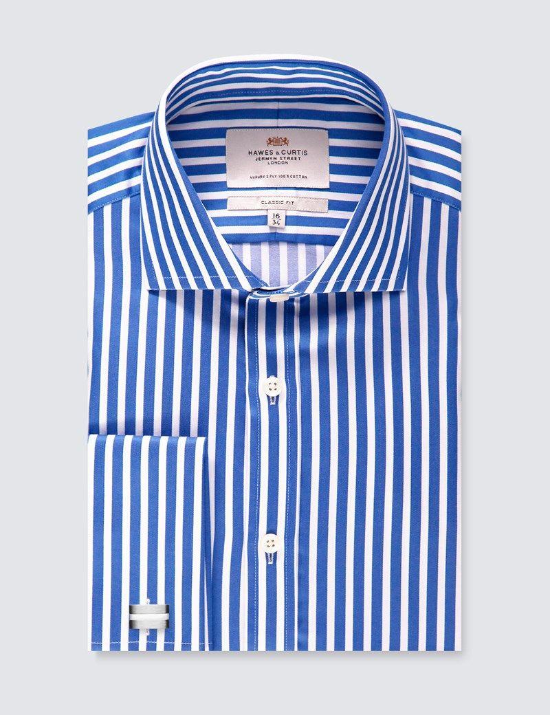 Mens Royal Blue White Stripe Classic Fit Dress Shirt French