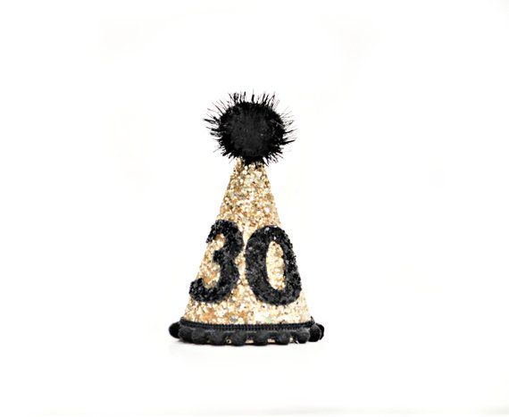 30th Gold Black Birthday Crown Adult