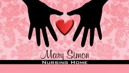 Feminine pink damask heart and hands silhouette nursing home feminine pink damask heart and hands silhouette nursing home business cards httpwww colourmoves Choice Image