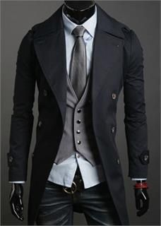 New Men S Casual Double Breasted Trench Coat Slim Fit Windbreaker