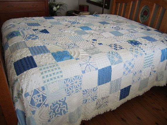 Queen Size Blue & White Vintage Chenille Quilt by SewDarnAddicted