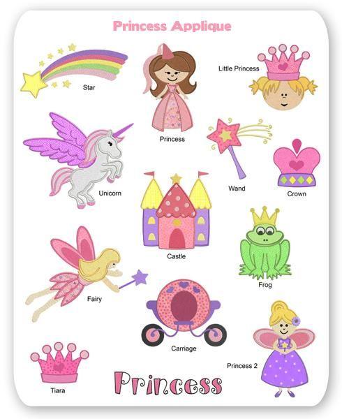 Princess Embroidery Applique Designs Fairy Castle Tiara Unicorn
