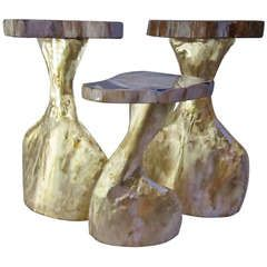 Three Brass and Fossil Wood Small Table - I love these odd little tables -