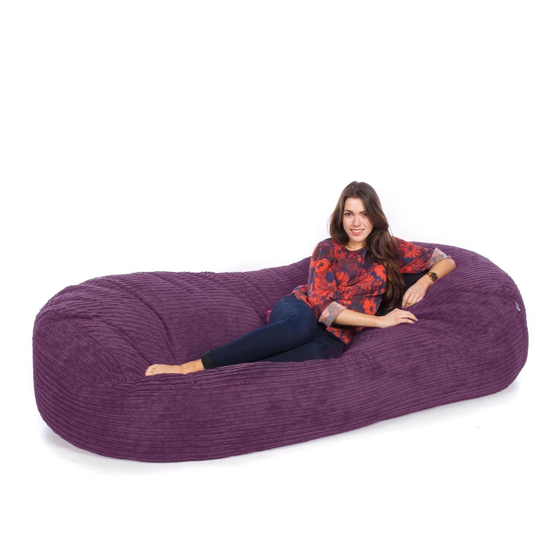 Corduroy Sofa Bed Bean Bag Purple Mobiliario, Giant