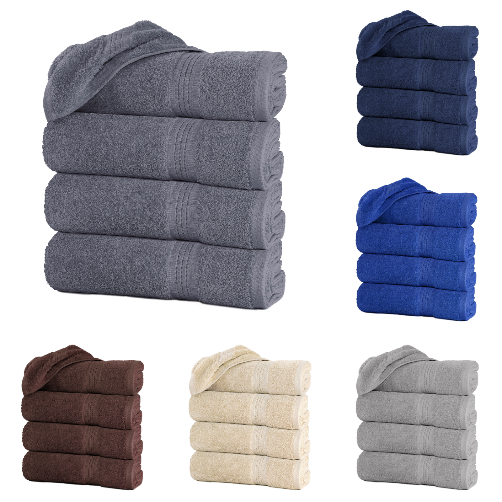 Large Bath Towel Packs Sets Sheets 100 Cotton 27x58 450 Gsm