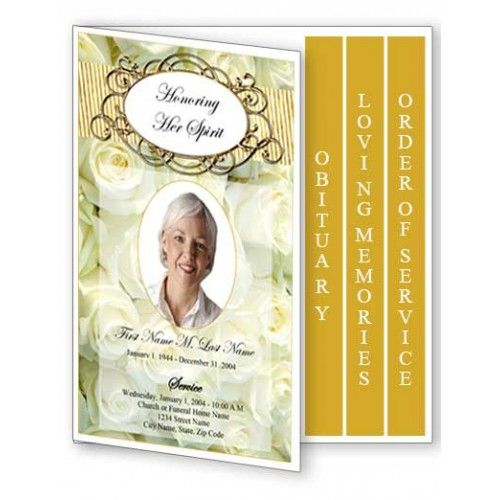 cherished white roses funeral program template 4 page graduated