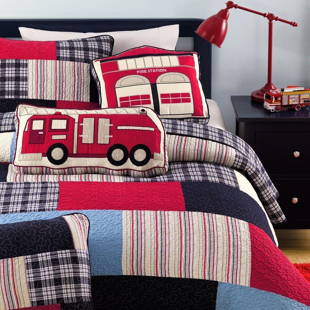 Cozy Line Plaid Cotton Kids Quilt Bedding Set for Boys