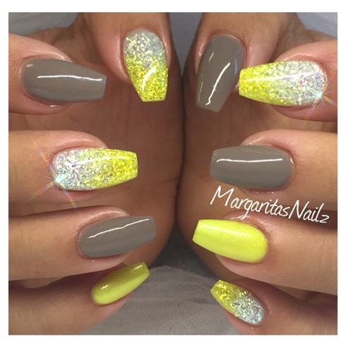 yellow glitter and grey nails